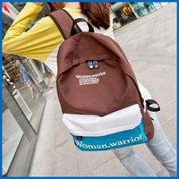 商务背包004时尚韩版女包2015新款帆布背包中学生书包双肩包女潮学院风旅行包- 黄色配大红